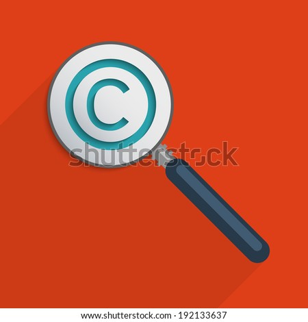 Concept for protection of intellectual property and copyright. Flat design illustration.