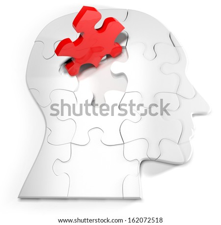 Concept for the mind and puzzle head with one red jigsaw - stock photo