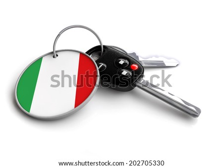 Concept for vehicles made in a specific country. Car industry concept of keys with country flag as key ring. Cars made in Italy. - stock photo