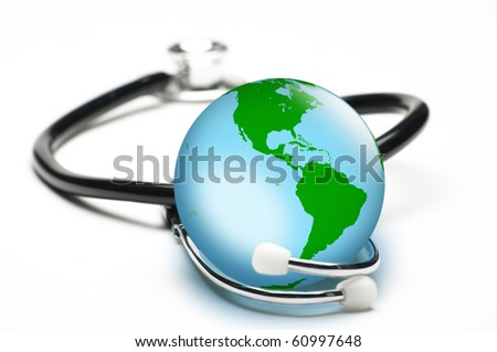 Concept for world healthcare, looking after the planet. Isolated on white. Focus on globe. - stock photo