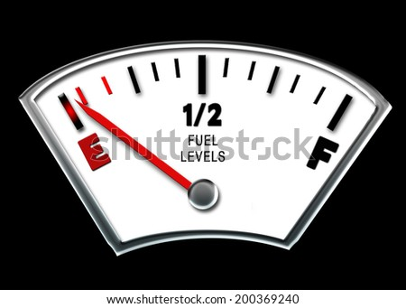 CONCEPT - fuel gauge on empty which is ideal for many different purposes including feelings etc. - stock photo