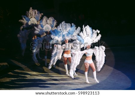 Concept. Girls in costume at the carnival in Rio. Actors perform in the circus.