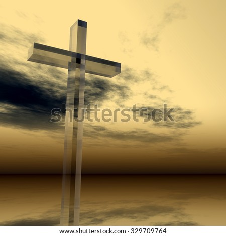 Concept glass cross or religion symbol silhouette on water landscape over a sunset or sunrise sky with sunlight clouds background for God, Christ, Christianity, religious, faith, Jesus or belief - stock photo
