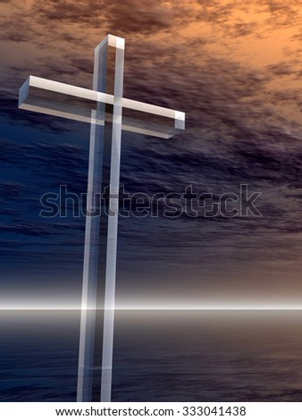 Concept glass cross or religion symbol silhouette on water landscape over a sunset or sunrise sky with sunlight clouds background for God, Christ, Christianity, religious, faith, Jesus or belief