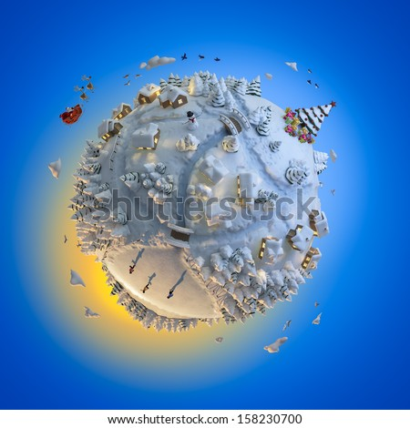 Concept globe showing a winter christmas planet with santa claus clipping path included