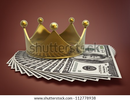 concept golden crown and dollars High resolution 3d