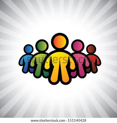 Concept graphic- colorful abstract team members & team leader(captain). The illustration also represents concepts like boss & worker, captain & team of people, leadership, positions like CEO, CFO, etc - stock photo