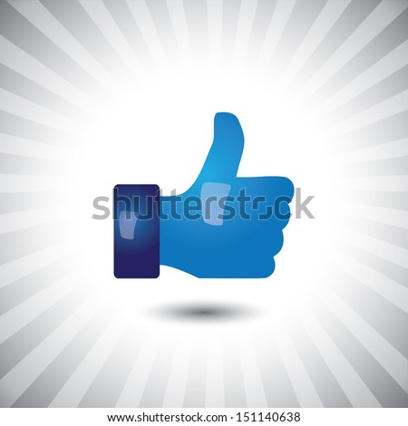Concept graphic- glossy, stylish social media like hand icon ( sign ). The illustration shows a shiny like sign or icon used in social media websites like facebook - stock photo