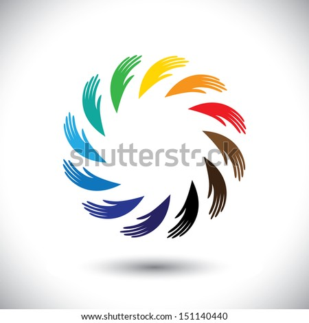 Concept graphic- human hand symbols(icon) as colorful circle. The illustration also represents concepts like teamwork, cooperation, community sharing, friendship, partnership, unity & solidarity - stock photo