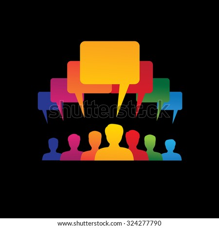 Concept graphic- leader & workers talking ( speech bubbles ). This colorful illustration represents people diversity, teamwork, employee conversation & interaction, worker discussions, etc - stock photo