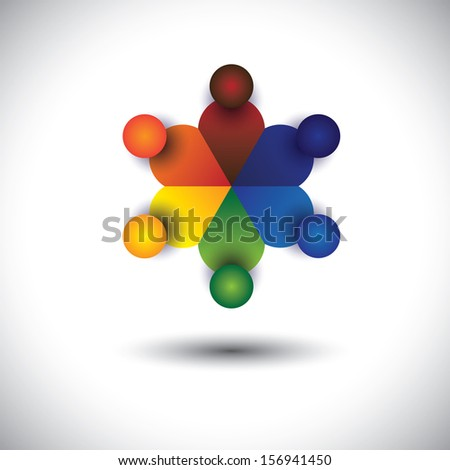concept graphic of children or kids playing in circle. The graphic also represents social media interaction & engagement, kids talking in school, workers discussions, employees meetings & interactions - stock photo
