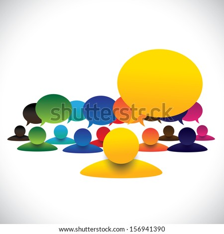 concept graphic of leader & members talking, manager meeting employees. The icons also represents communication of president or ceo with employees, school captain with children, army chief & soldiers - stock photo