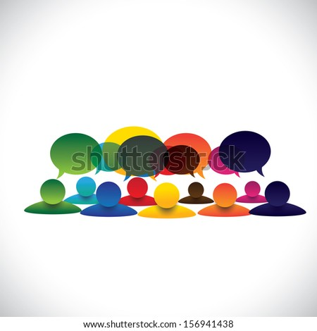 concept graphic of people group talking or employee discussions. The graphic also represents social media interaction & engagement, children talking in school, workers opinion, community talk - stock photo