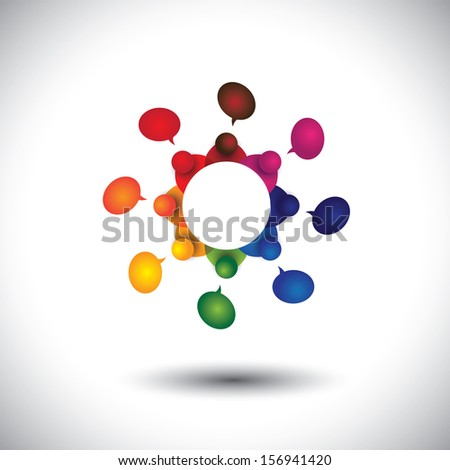concept graphic of school kids talking or employee meeting in circle. The icons also represents social media interaction & engagement, children talking in school, employee discussions, community talk - stock photo