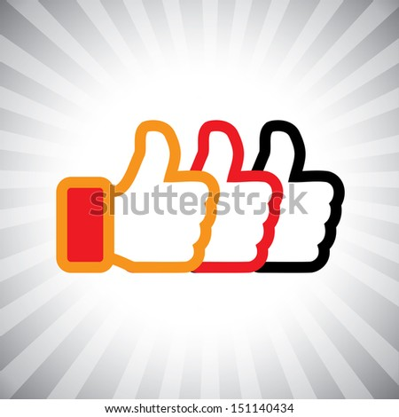 Concept graphic- social media hand icons ( signs ) set used in sites like facebook. The illustration shows three thumbs up signs in orange, red and black colors - stock photo