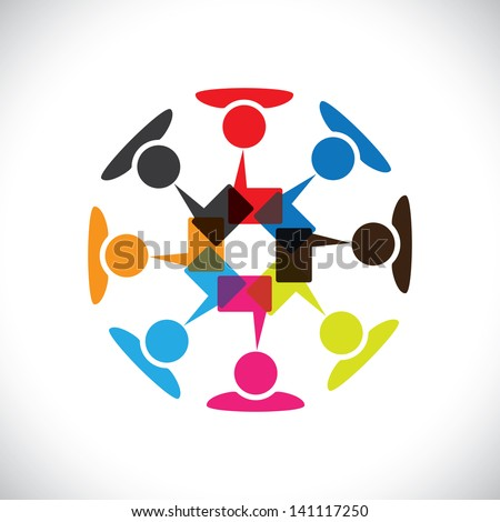 Concept graphic- social media interaction & communication. This illustration can also represent people chatting, teamwork, meeting, employee interactions & discussions, expressing opinions, etc