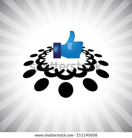Concept graphic- social media like hand icon(Symbol) & people. The illustration shows team of people, friends & relatives  together as a circle & connections(networking) using like facebook sign  - stock photo