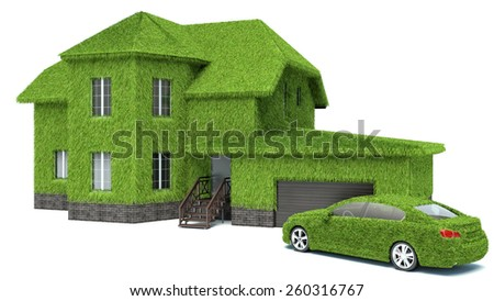 concept green eco house, isolated on white background