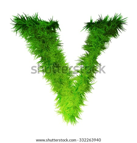 Concept green grass, eco or ecology font, part of a set or collection on white background for nature, summer, spring, alphabet, ecology, environment, plant, winter, ecological, conservation design