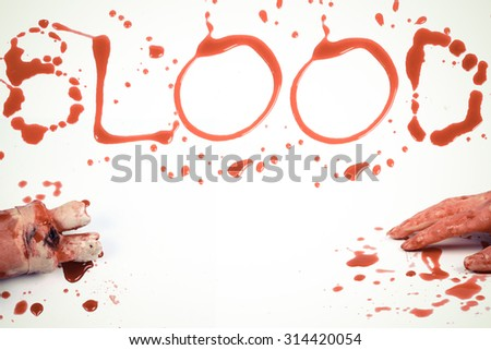 Concept Halloween Bloody  letters BLOOD color vintage