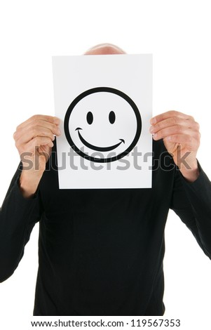 Concept happy man with smiley card isolated over white background
