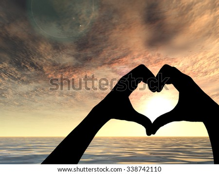 Concept heart shape or symbol made of human or woman and man hand silhouette over a sky and sea or water at sunset background for love, valentine, romantic, couple, wedding, romance, summer sunrise