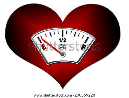 CONCEPT - Heart with fuel gauge determining one's emotional status of the heart - stock photo