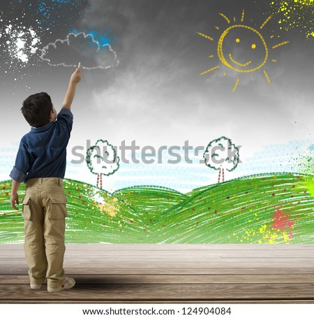 Concept how to change a gray day with colored day - stock photo