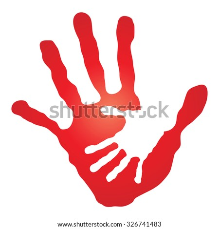 Concept human or mother and child hand prints painted, isolated on white background for art, care, childhood, family, fun, happy, infant, symbol, kid, little, love, mom, motherhood, young design