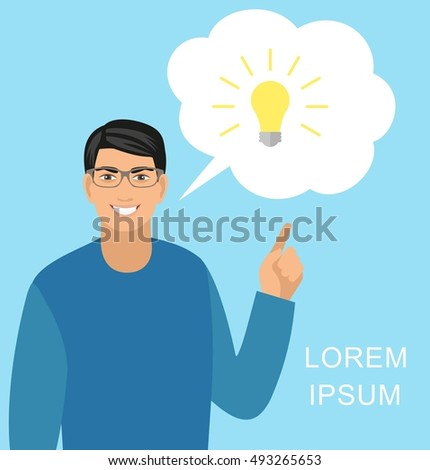 Concept idea.  illustration of a creative young businessman pointing at light bulb as a symbol of having an idea