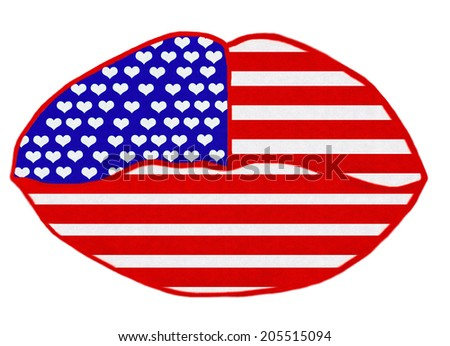 CONCEPT ILLUSTRATION - LOVE THE USA - LIPS MADE OUT OF AMERICAN FLAG - stock photo