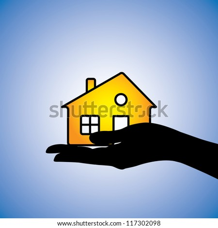 Concept illustration of buying/selling of house/home. This can represent concept of buyer buying/selling a residential property from/to a real estate agent or from/to another owner owning the asset - stock photo