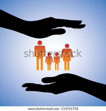 Concept illustration of protecting family of four(parents and two children). The graphic includes silhouettes of female's hand along with figures of dad, mom, son and daughter - stock photo