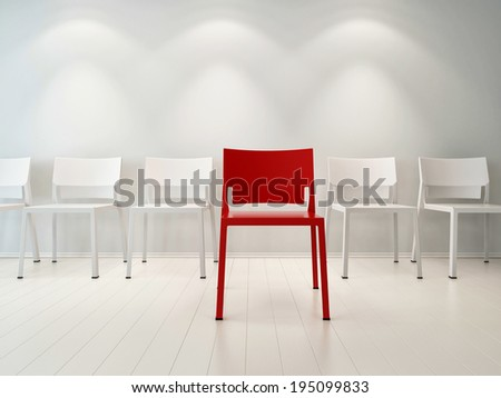 Concept illustration of red chair standing in front of row of white chairs
