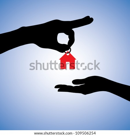 Concept illustration of selling or gifting house in real estate market. The hand holding a red house key chain is the seller or the owner and the arm receiving the house key is the buyer or purchaser. - stock photo