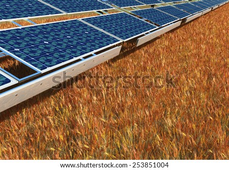 concept illustration of sustainable energy solar panels  - stock photo