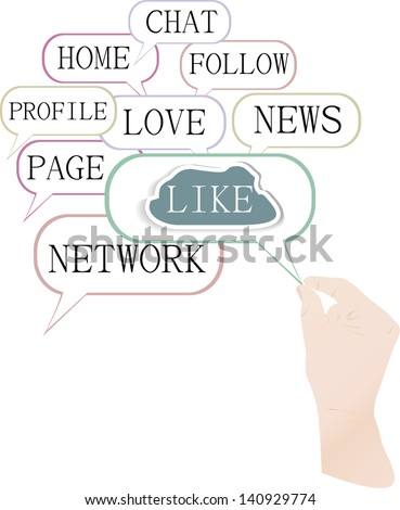 Concept illustration of the like cloud symbols, composed of social media words, raster - stock photo