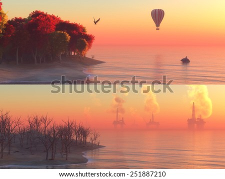 concept illustration pollution on the coast before and after - stock photo