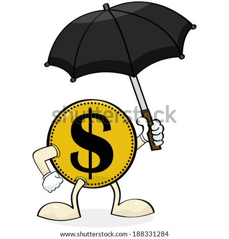 Concept illustration showing a coin holding an umbrella to protect itself - stock photo