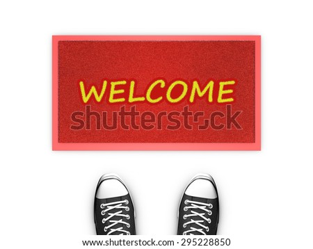 Concept illustration showing shoes in front of a Welcome red door map. - stock photo