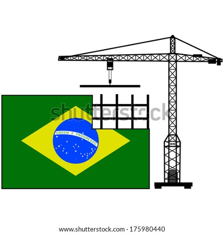 Concept illustration showing the flag of Brazil and a crane helping to build it - stock photo