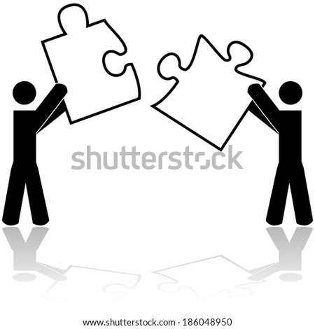 Concept illustration showing two people carrying matching puzzle pieces - stock photo