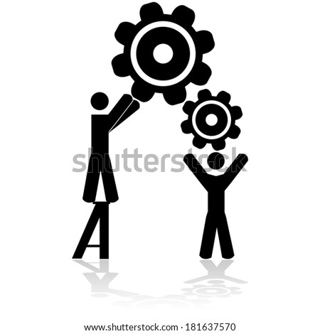 Concept illustration showing two people working together to assemble machine gears