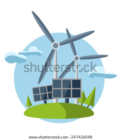 concept illustration with icon of green energy (set) - stock photo