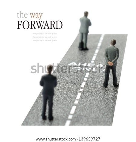 Concept image depicting the only way forward in the business work place. Copy space.