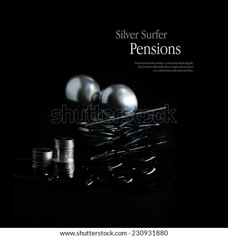 Concept image for pension changes for over 55's in the UK commencing April 5, 2015 allowing full access to private pensions. Copy space. - stock photo