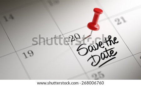 Concept image of a Calendar with a shiny red push pin. Closeup shot of a thumbtack attached. Save the date text note reminder concept. Words Save the date written in Black Marker. - stock photo