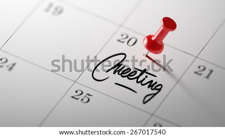 Concept image of a Calendar with a shiny red push pin. Meeting appointment reminder concept. Closeup shot of a thumbtack attached. Words Meeting written in Black Marker. - stock photo