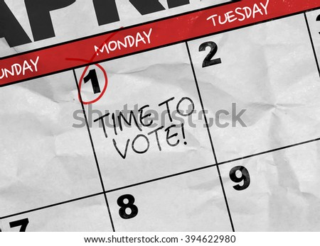 Concept image of a Calendar with the text: Time to Vote - stock photo