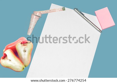 Concept image of a check list Diet. The empty  blank  on a white paper  to remind you an important appointment. - stock photo